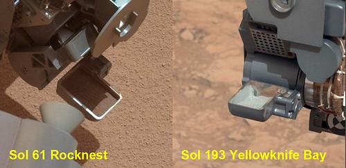 CURIOSITY sol 61 and sol 193 - scoop comparison