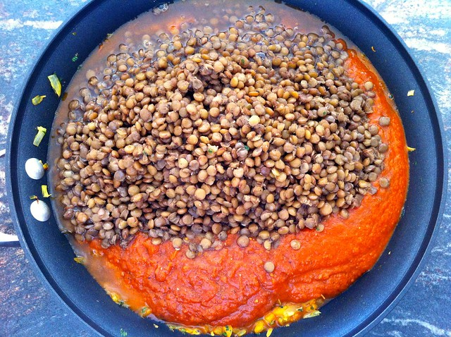 Soaked Lentils Added to Pan