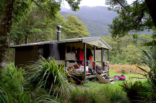 a DOC hut where the olivine river meets the pike, ...