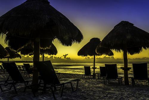 [フリー画像素材] ビーチ・海岸, 朝焼け・夕焼け, リゾート, 風景 - メキシコ ID:201303021600
