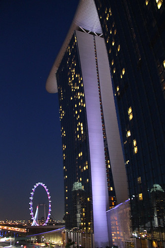 Marina Sands hotel and Singapore Flyer