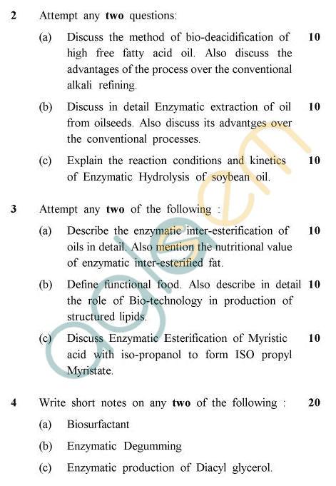 UPTU B.Tech Question Papers -OT-804 - Biotechnology of Oils & Fats