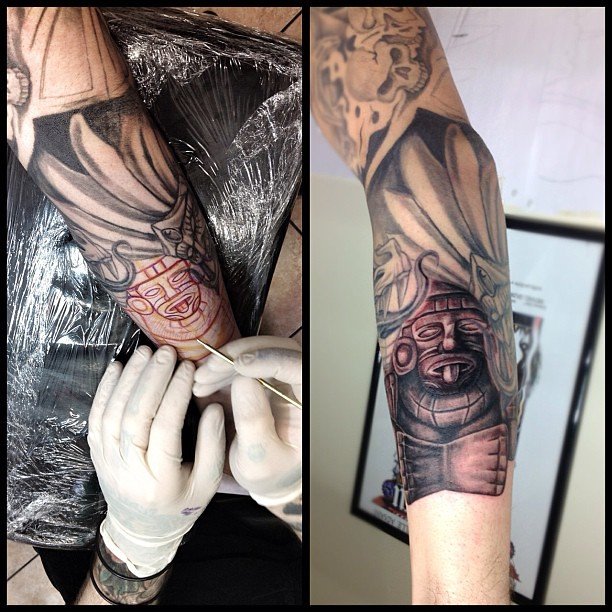 Free hand finished for today tattoo docgarlato for Aztec hand tattoo