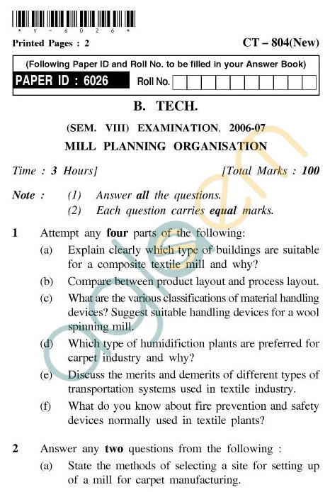 UPTU B.Tech Question Papers - CT-804(New) - Mill Planning Organisation
