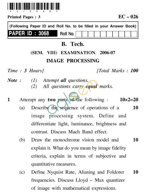 UPTU B.Tech Question Papers - EC-026-Image Processing