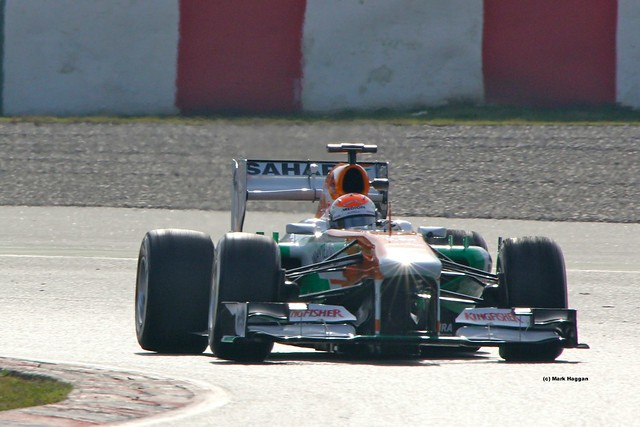 Adrian Sutil's Force India in Formula One Winter Testing 2013