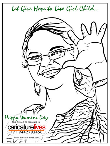 Caricature, gift caricature, caricaturist sugumarje, pen drawing, artwork, Event caricature, Girl, Womens Day, Sugumarje