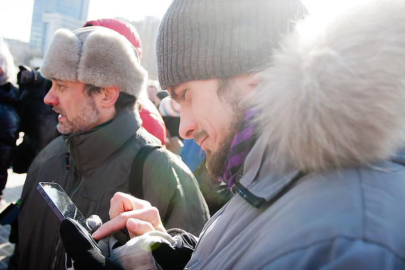 Петр Верзилов на пикете в поддержку Pussy Riot