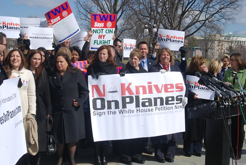 protest against allowing kniveson airplanes