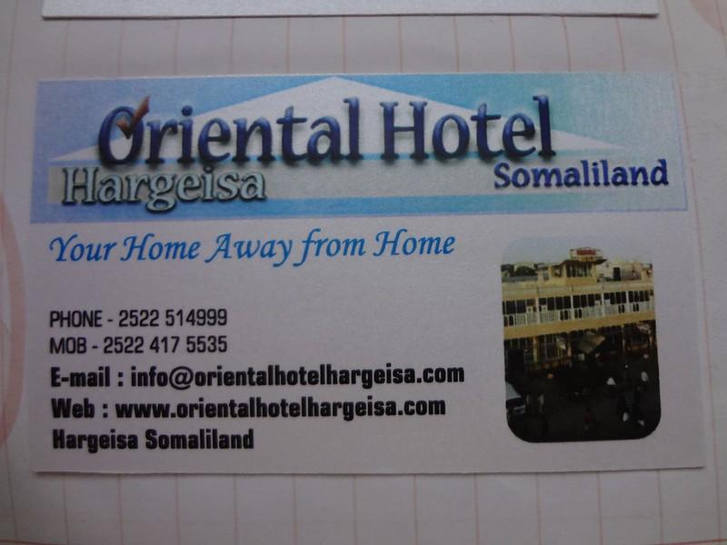 Cartao de visita do Hotel Oriental em Hargeisa