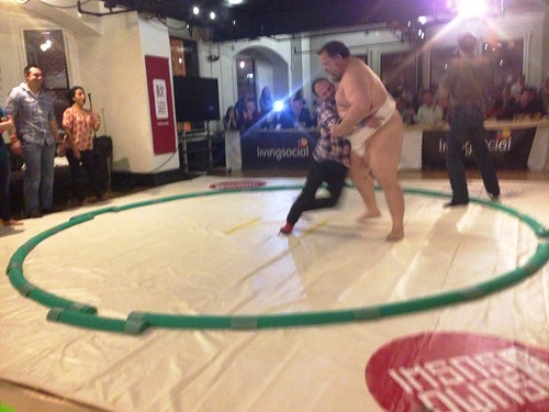 Sumo Wrestler Kelly and volunteer fighting