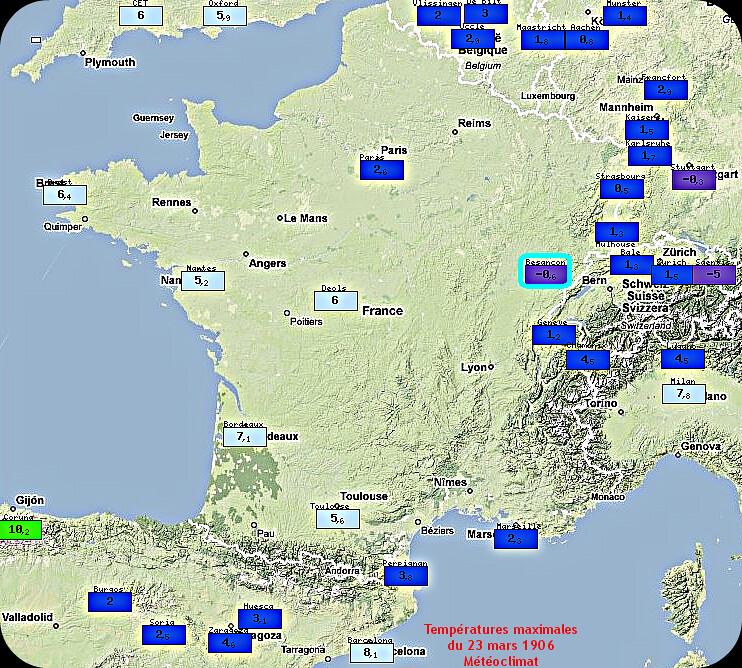 températures maximales hivernales du 23 mars 1906 météopassion