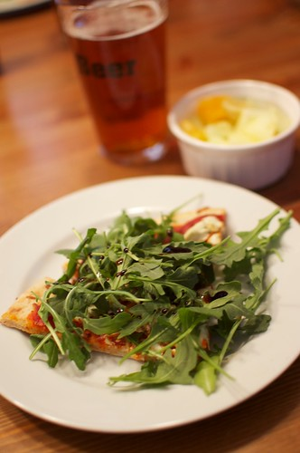Simple goat cheese and arugula pizza