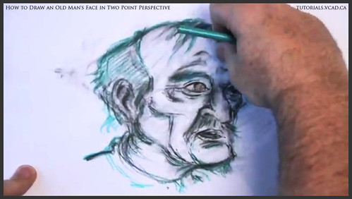 learn how to draw an old man's face in two point perspective 035