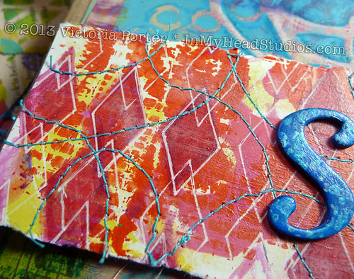 """Soar & Fly"" Art Journal Page : Stitching"