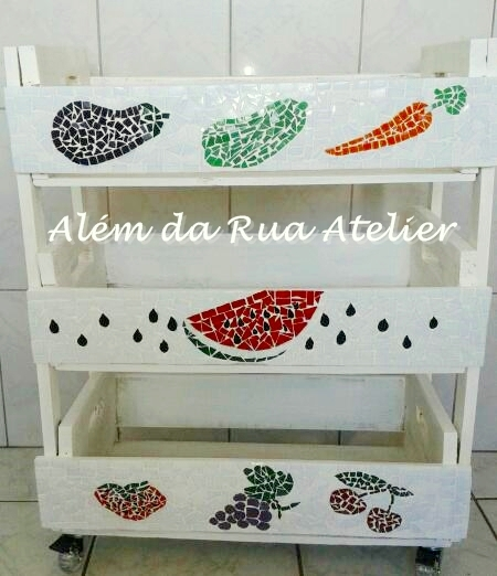 Mosaico + Caixotes = Fruteira!!!