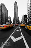 Flatiron building and yellow cabs