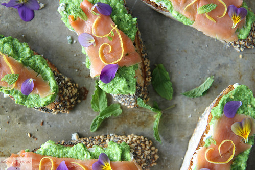 Smoked Salmon, Minty Pea and Goat Cheese Crostini