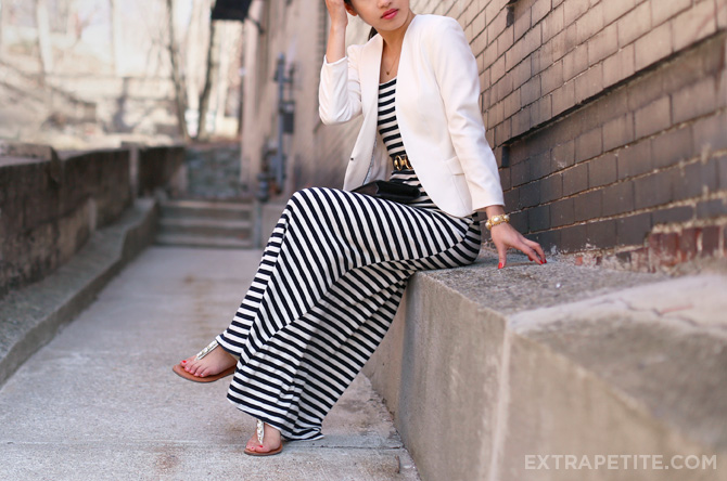 striped maxi dress ivory blazer1