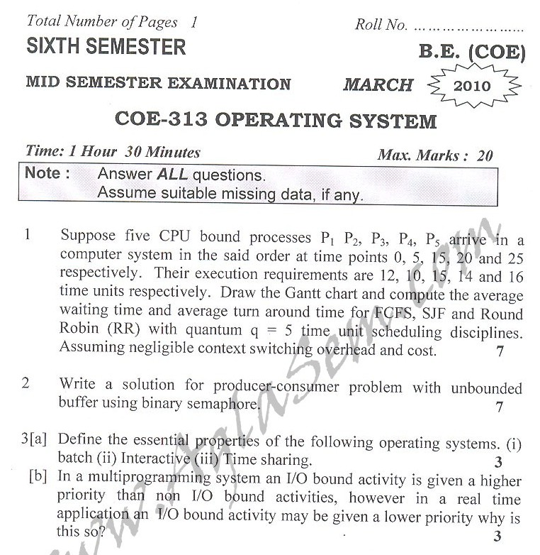 DTU Question Papers 2010 – 6 Semester - Mid Sem - COE-313