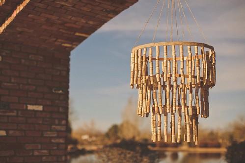 Cole + Kim Wedding DIY wine-cork chandelier