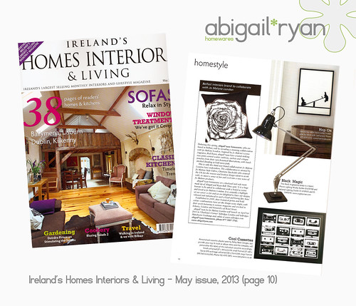 Ireland's Homes Interiors & Living Magazine, May issue, featured abigail*ryan for Jo Malone on page 10.