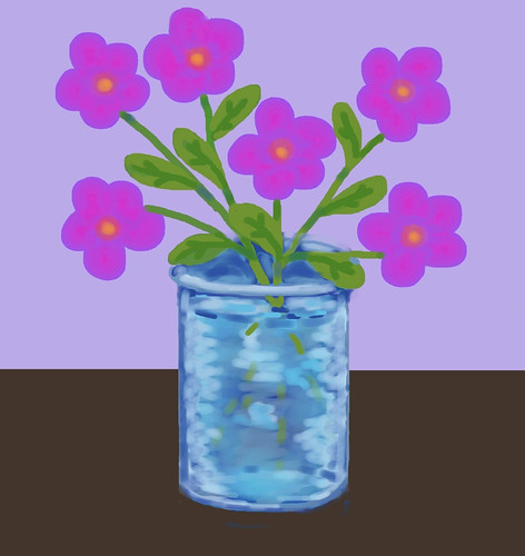 Pink Flowers in Blue Vase (Digital Pastel Day 3) by randubnick