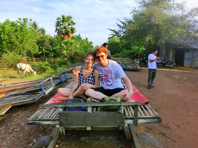 Riding the bamboo train (nori) in Battambang, Cambodia