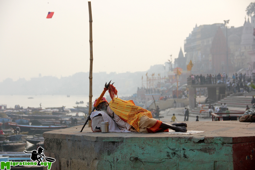 Taking a nap with a nice view of Varanasi