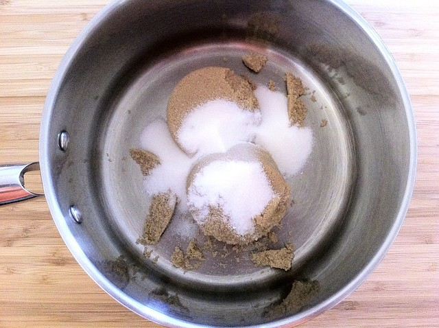 Brown Sugar and Granulated Sugar Combined in Sauce Pot