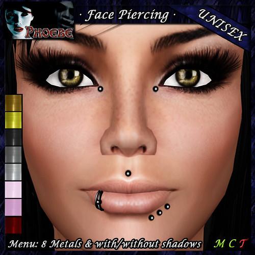 P Unisex Face Piercing ~ Serie K7 ~ 8 Metals