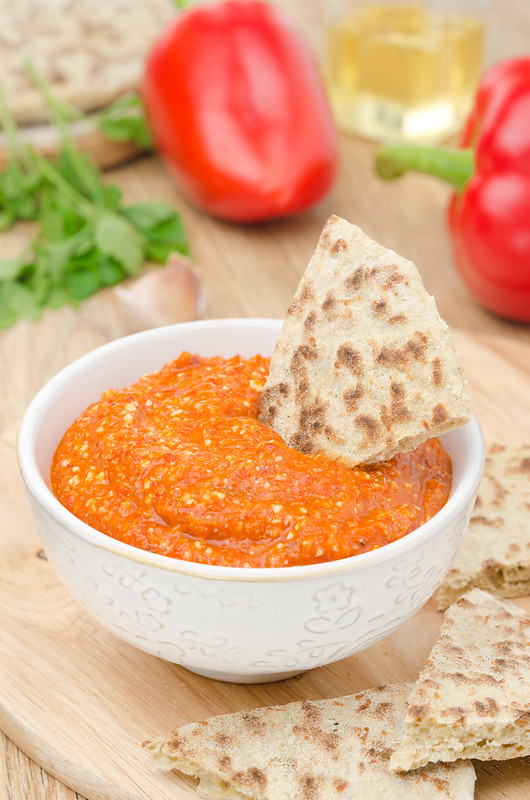 dip of roasted red pepper and almond