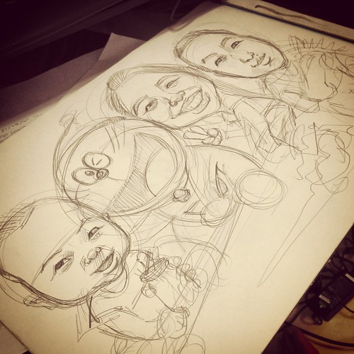 family caricatures with Doraemon pencil sketch