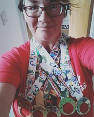 Had my own mini Olympics thanks to @virtualrunnerUK. 5  different events. 5 medals which arrived today :blush: They all clip together to make one large medal. #virtualrunneruk  #riochallenge