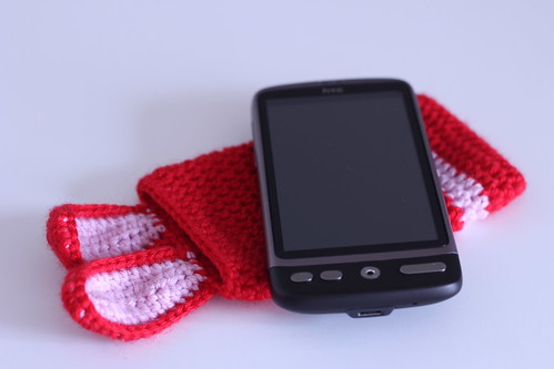 Smartphone cozy case with rabbit ears