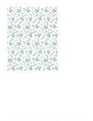 11c LIGHT antique blue painted wallpaper flowers LARGE SCALE - A2 card size PORTRAIT or VERICAL