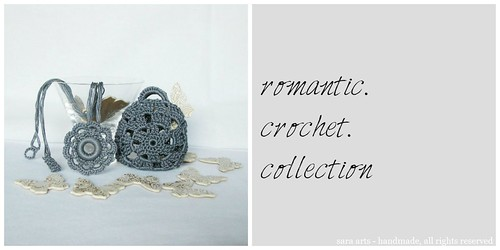 Romantic crochet necklace with case - grey