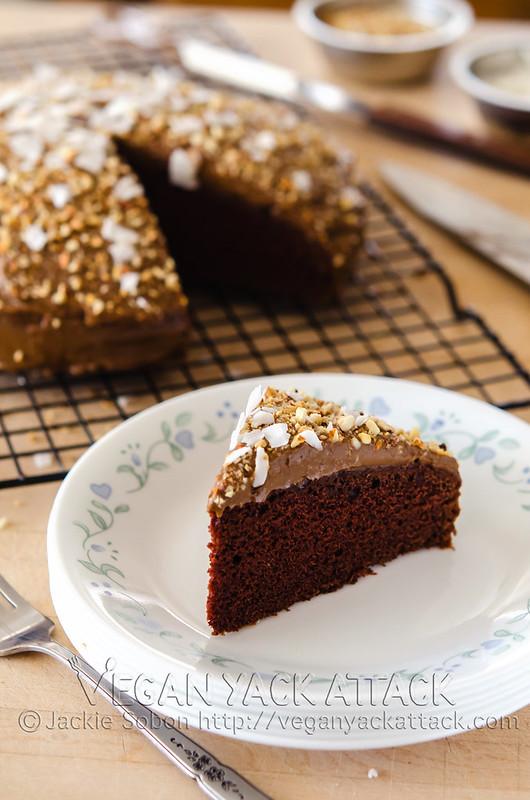 A slice of vegan Lover's Chocolate Cake