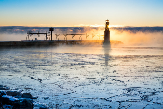 Sunrise, Fog, Cold, Ice, Harbor, Lighthouse, Algoma, Wisconsin, WI