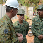U.S. Marines and U.S. Soldiers Work Together to construct the community of Ban Hua Wang Krang School house.