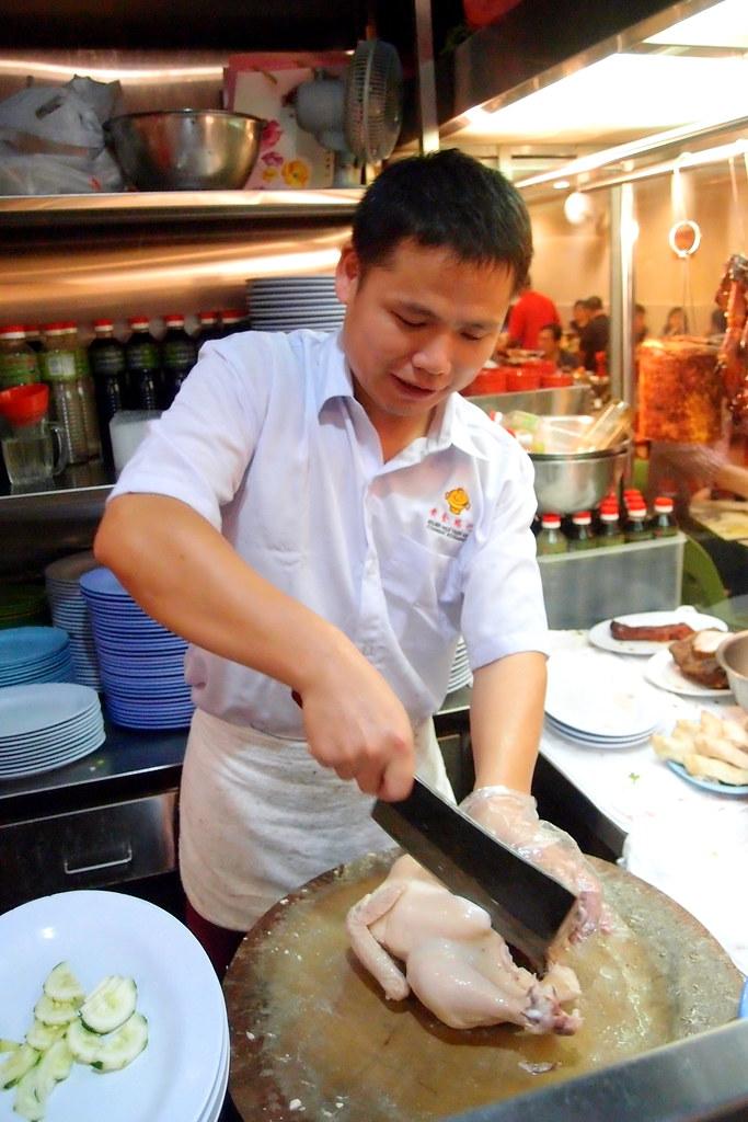 Golden Mile Thien Kee Steamboat: Chef slicing chicken