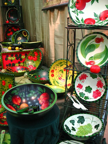painted bowls (geranium, grapes, apples, etc.) by Sherwood Forest Design