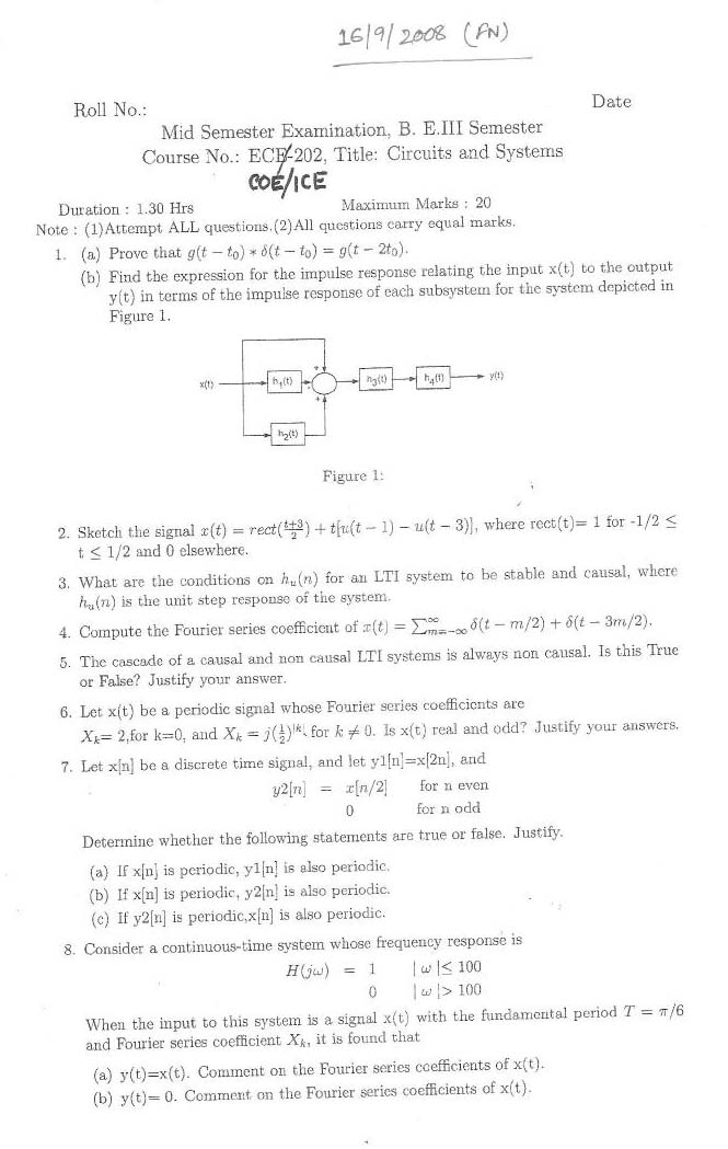 NSIT Question Papers 2008 – 3 Semester - Mid Sem - COE-ICE-202