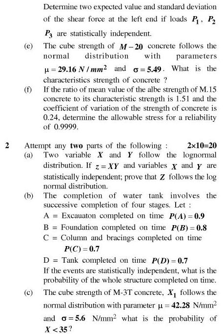 UPTU B.Tech Question Papers - CE-042-Reliability Based Design