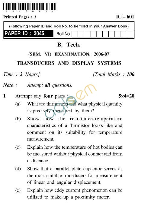 UPTU B.Tech Question Papers - IC-601-Transducers and Display Systems