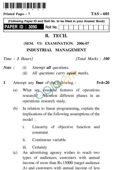 UPTU B.Tech Question Papers -TAS-601-Industrial Management