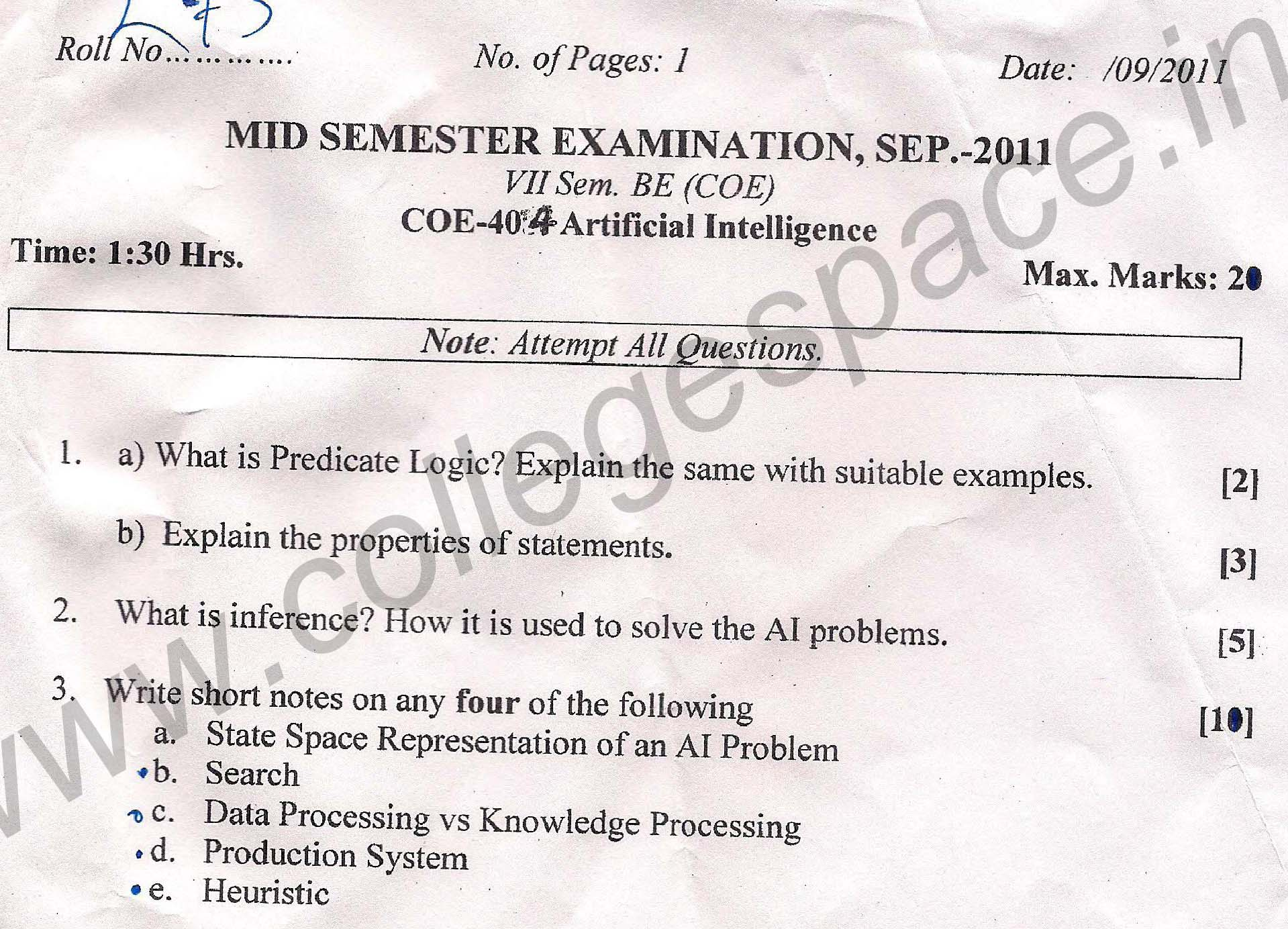 NSIT Question Papers 2011 – 7 Semester - Mid Sem - COE-404