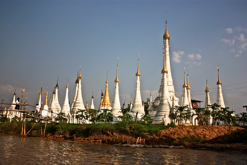 Stupas along the lake