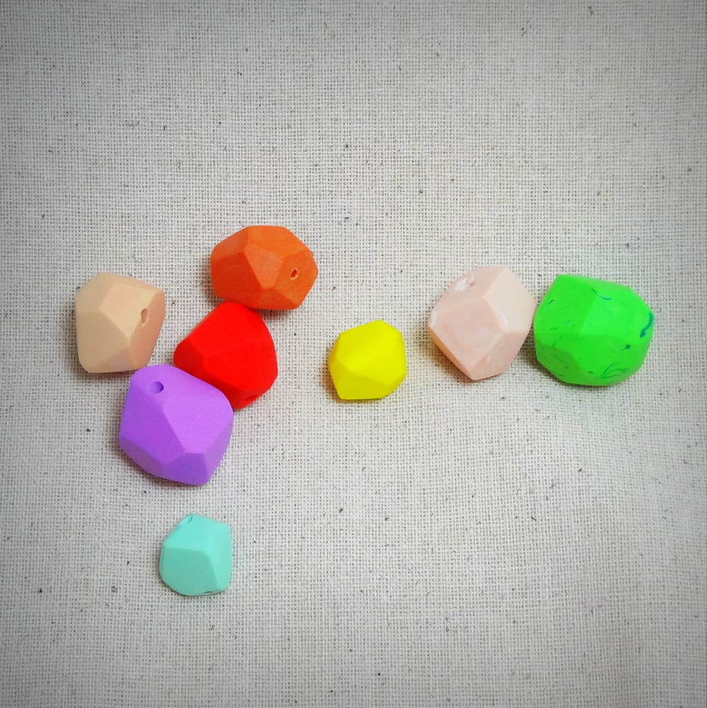 faceted polymer clay beads by JoseeMM