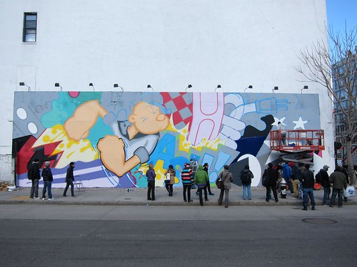 Crash bombs the Bowery Houston wall: Work in progress